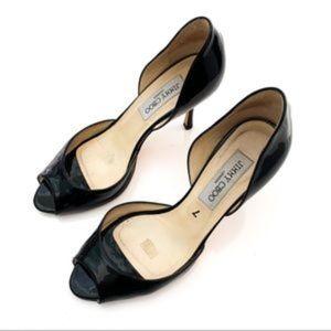 Jimmy Choo Luna Peep Toe Black Patent Leather Heel